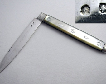Very Large Georgian George III Solid Sterling Silver & Mother of Pearl MOP Antique English Sheffield Folding Pocket Fruit Pen Knife Penknife