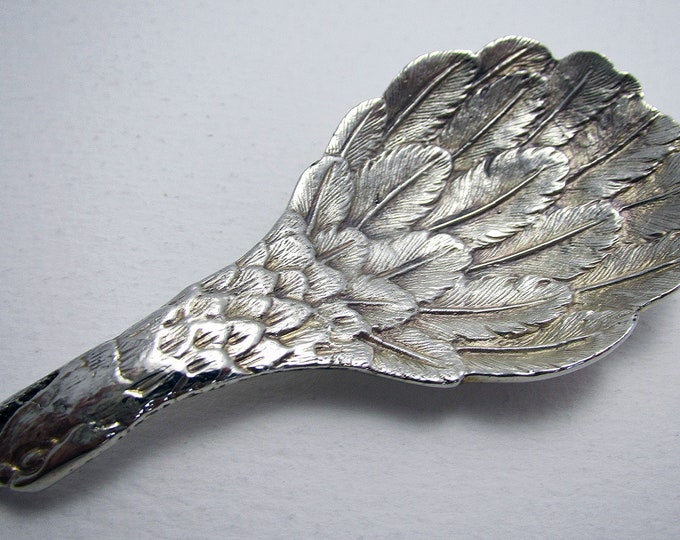 Featured listing image: Novelty Eagle's Wing 1977 Solid Sterling Silver English Tea CADDY Spoon by C J Vander. London Hallmarked.
