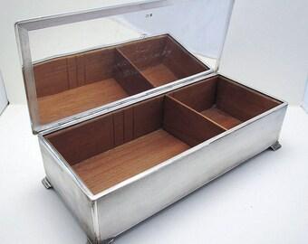 Huge 25cm 1960s Sterling Silver English Cigarette Cigar Trinket Jewelry Casket Case Box. Solid Lid. 20th-Century.