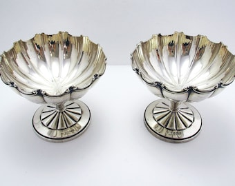 Beautiful Rare Pair Solid Sterling Silver Sundae Ice Cream Dessert Dishes/Cups. Mappin & Webb Antique/Vintage Art Deco.