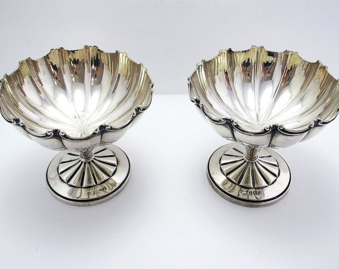 Featured listing image: Beautiful Rare Pair Solid Sterling Silver Sundae Ice Cream Dessert Dishes/Cups. Mappin & Webb Antique/Vintage Art Deco.