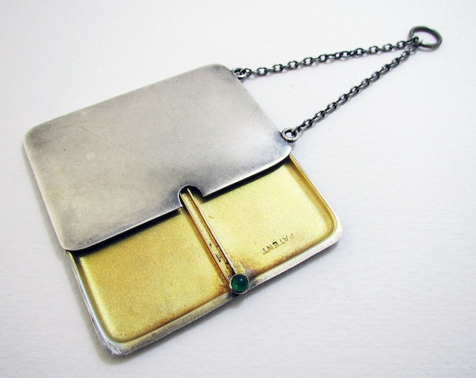 Antique Edwardian (1913) English Solid Sterling Silver Double Stamp Case for Chatelaine Necklace Albert Chain.