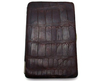 Edwardian (c1910) Antique Crocodile Skin Leather Wallet Purse Name Note Card Stamp Case