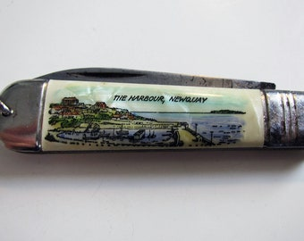 Lovely Vintage Newquay Harbour Cornwall Souvenir Folding Pocket Fruit Pen Knife Penknife. Made in Germany