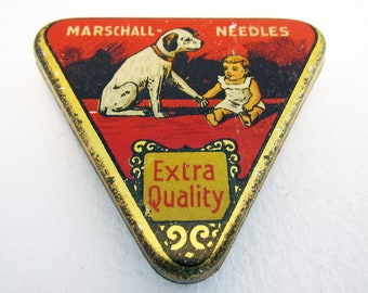 German Marschall Triangular Gramophone Needle Metal Tin Case Box Nadeldose. Early 20th-Century. Antique/Vintage.
