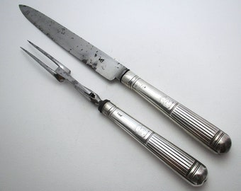 "Very large 13"" Antique 1802 Georgian-George III Sterling Silver & Steel Serving Carving Knife + Fork Set, by Moses Brent, motto Dread God."