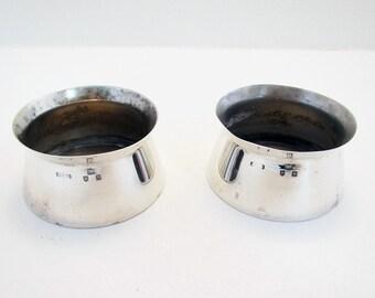 Unusual VICTORIAN MODERNIST (1897) Solid Sterling Silver Pair of Salt Cellars Dish Cruet. English Hallmarked. Late 19th-Century.