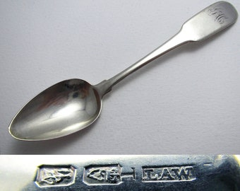 Irish Antique (c.1805) Georgian-George III Solid Sterling Silver Tea Spoon, William Law.