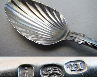 "Rare 1784 ""Feather Edge with Shoulders"" Pattern, George III Georgian Solid Sterling Silver Tea Spoon, Late 18th-Century."