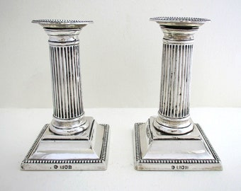 "Pair of Antique Edwardian Solid Sterling Silver Corinthian Column Candle Holder Candlesticks. English Hallmarked 1909. 5 1/4"" tall."