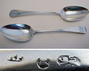 Pair English Provincial (c.1790) Georgian/George III Solid Sterling SILVER Tea Spoons by Richard Ferris. West Country Exeter.