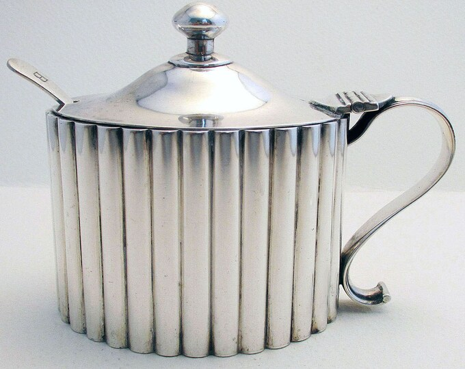Featured listing image: Huge Hamilton & Co. Rare Indian Colonial Solid Silver 900+ Mustard Pot, India Calcutta.