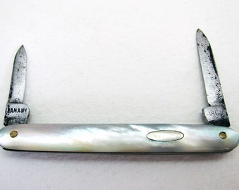 Rare German Miniature Antique c1910 Mother of Pearl Mini Pocket Double Folding Pen Knife Fruit Quill Knife Penknife.