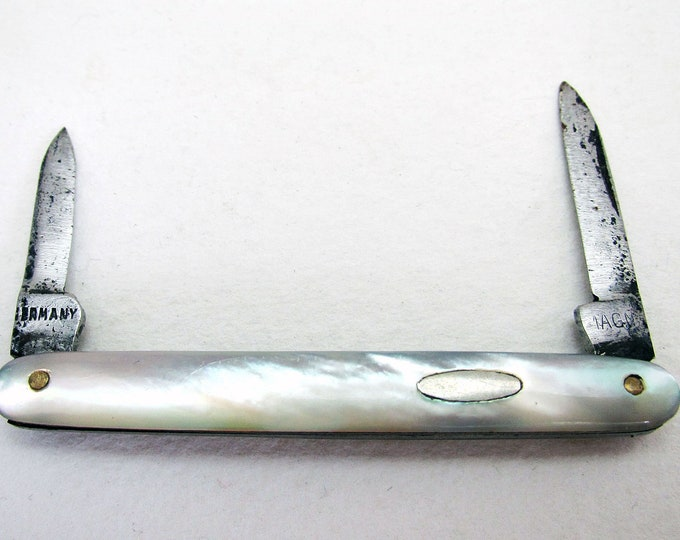 Rare German Miniature Antique (c1910) Mother of Pearl Mini Pocket Double Folding Pen Knife Fruit Quill Knife Penknife.