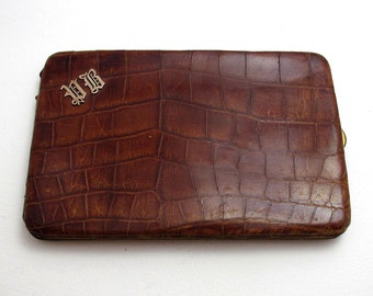 1930s Whitmores Birmingham 9k Gold Monogram 'PB' Crocodile Skin Leather Wallet Purse Name Note Card Stamp Case