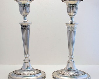 Pair Antique Edwardian (1902) Solid Sterling Silver English Hallmarked Candlesticks Candle Holders. George III Revival/Adams Style.