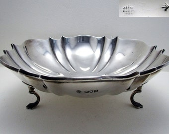 "Antique (1908) EDWARDIAN 8 1/4"" wide, Solid Sterling Silver Tazza Fruit Bowl Compote Comport Footed Dish. Broad Arrow mark."