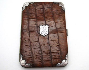 Superb Edwardian (1905) Solid Sterling Silver Mounted Crocodile Skin Leather Antique Wallet Purse Name Note Card Stamp Case.