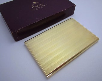 Large Asprey & Co (1950) Solid Sterling Silver GILT Gold Wash Slide-Action Sliding Cigarette Case.