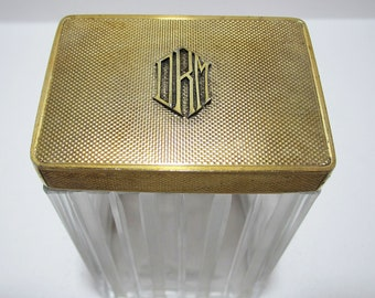 Asprey & Co. Solid Sterling SILVER GILT Monogram English Art Deco Dressing Table Lidded Top Cut Glass Bottle/Jar/Pot/Container.