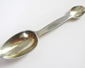 Rare Antique Solid Sterling Silver Gilt Double Ended MEDICINE Medical Syrup Spoon, Heavy 31g. English Edwardian Hallmarked 1910.
