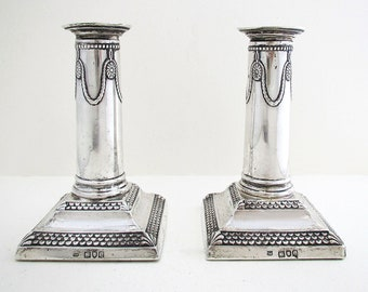 Pair of Antique Victorian Solid Sterling Silver Candle Holder Candlesticks. English Hallmarked 1900.
