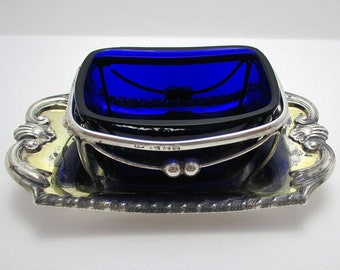 Rare George III (1816) Solid Sterling Silver & Blue Glass Liner Regency Georgian Butter Tray Dish, English Sheffield Hallmarked.