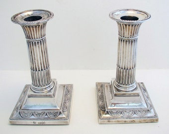 """Pair of Antique Victorian (1898) Solid Sterling Silver English Corinthian Column Candle Holder Candlesticks. 5 1/2"""" tall. 19th-Century."""