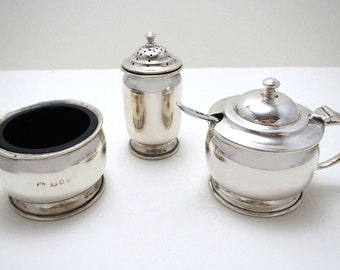 1930s Art Deco 3-Piece Solid Sterling Silver CRUET Set (Salt Cellar, Mustard Pot & Spoon, Pepper/Pepperette/Shaker). English Hallmarked.