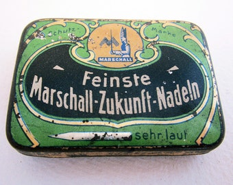 German Marschall Zukunft Feinste Nadeln Gramophone Needle Metal Tin Case Box. Early 20th-Century. Antique/Vintage.