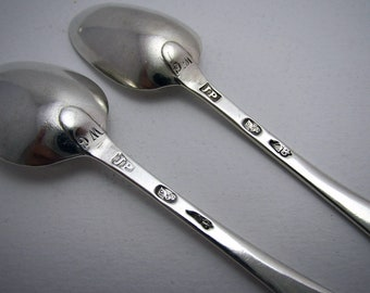 Quality Early IRISH, Pair of c1775 George III Solid Sterling Silver Bright-cut Georgian Tea Spoons, 18th-Century.