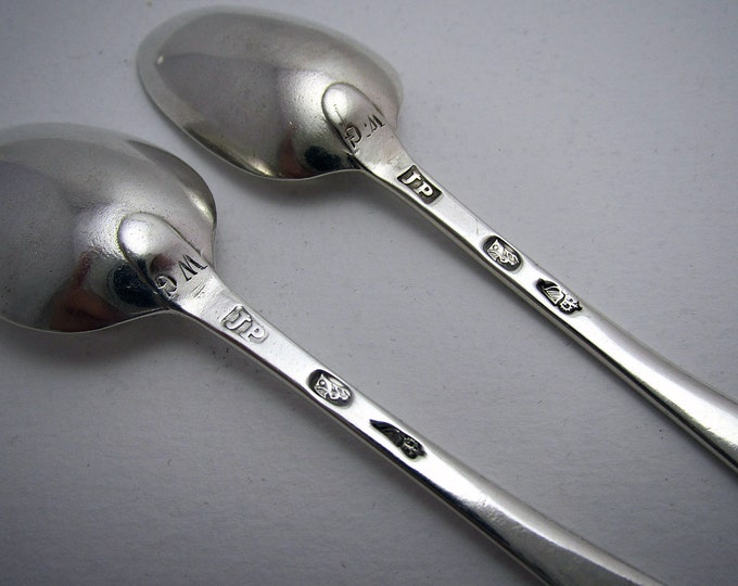 Featured listing image: Quality Early IRISH, Pair of c1775 George III Solid Sterling Silver Bright-cut Georgian Tea Spoons, 18th-Century.
