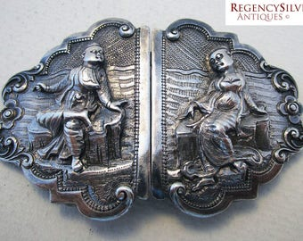 Rare Antique Ornate BURMESE (c1900) Solid Sterling Silver Hand Chased & Repousse Antique BELT BUCKLE.