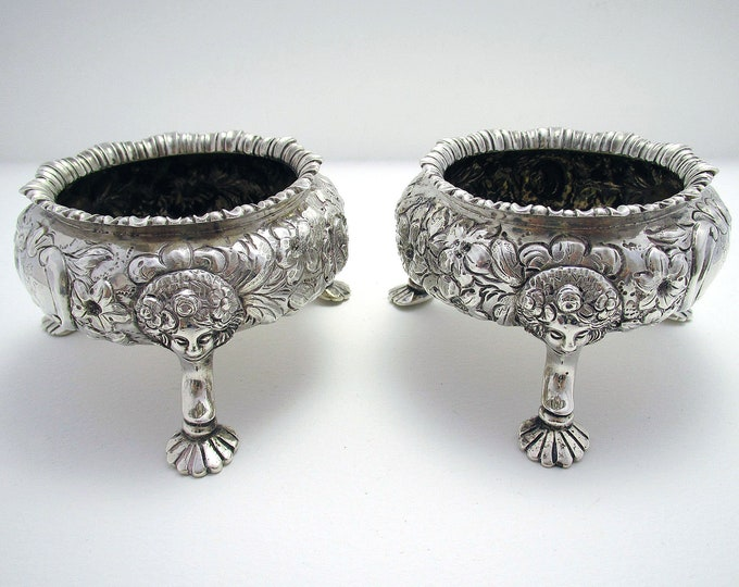 Pair of Magnificent Antique (1851) Victorian Rococo Solid Sterling Silver English Salts Cellars/Dishes/Bowls. Heavy 260g.