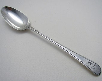 Unusual 'Long-Stem' (c1770) English Georgian-George III Feather Edge Solid Stering Silver Antique Tea Spoon, William Turton, 18th-Century.