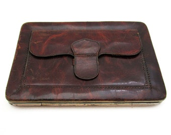 Vintage (c1930) Genuine Leather Wallet Purse Business Name Note Credit Card Stamp Case