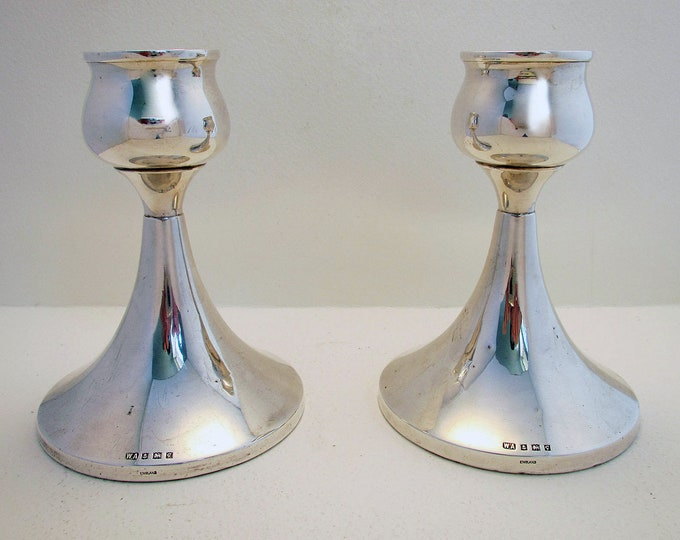 """Featured listing image: 50s Pair of 5"""" tall Modernist Arts and & Crafts design Solid Sterling Silver Candlesticks Candle Holders. 20th-century."""