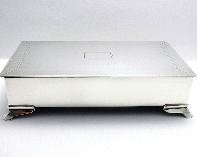 Good Quality Antique (1914) Solid Sterling Silver English Cigarette Cigar Trinket Jewelry Casket Case Box.