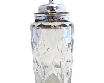 Rare large (1841) Antique Solid Sterling SILVER Top Lidded & Cut Glass Condiment Jar MUSTARD POT. Early 19th-century.