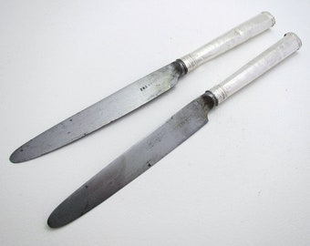 Rare 1792 Pair Georgian/George III Sterling Silver & Steel Antique Dessert Knives, English Sheffield Cutlery. Robert Trickett.