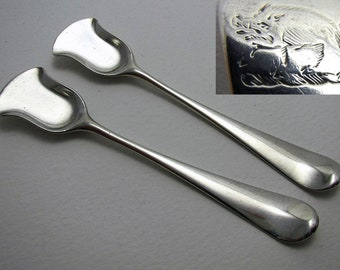 QUALITY Pair 18th-Century c1770 Antique Georgian George III Solid Sterling Silver Salt/Condiment Spoons Shovel. English Hallmarks. Wild Boar