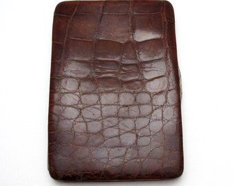 Quality Large Edwardian (c1910) Antique Crocodile Skin Leather Wallet Purse Name Note Card Stamp Case