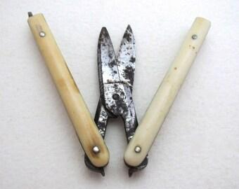 Antique Victorian (c1880) Patent Pocket Folding Manicure Scissors, Carbon Steel.