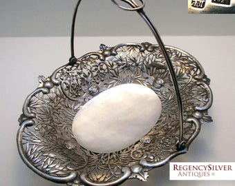 Rare 19th-Century (c1890) Chinese Export Antique SOLID SILVER Pierced Bowl/Dish/Basket. Swing handle.