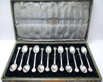 Evald Nielsen No.3 (1929) Danish Solid Silver Coffee/Tea/Espresso SPOONS, Arts & Crafts, Rare 12x Cased Set.