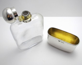 Top Quality Edwardian (1909) Solid Sterling SILVER Mounted & Glass English Antique Spirit Whisky Hip Flask Bottle Container.
