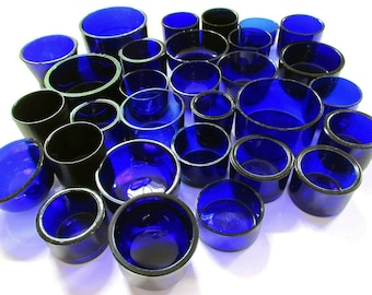 Replacement CIRCULAR/ROUND Bristol Cobalt Blue Glass Liner for Silver Salt/Inkwell/Mustard Pot