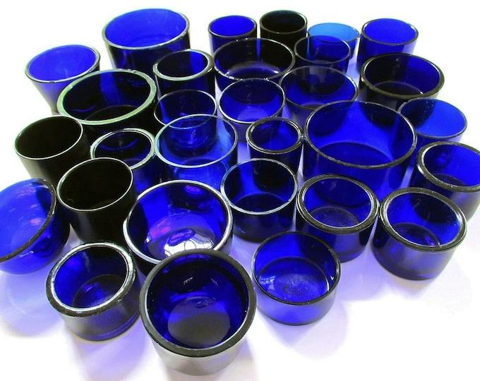 Replacement CIRCULAR/ROUND Bristol Cobalt Blue Glass Liner for Silver Salt/Inkwell/Mustard Pot