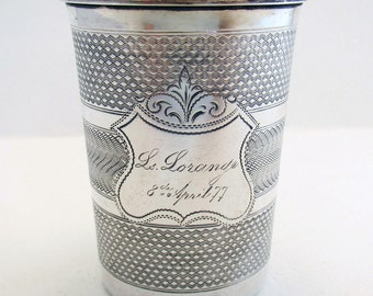 Rare German/Prussian Antique Solid Silver .812 Guilloche Beaker Mug Cup. Continental (c.1877) 19th-century.