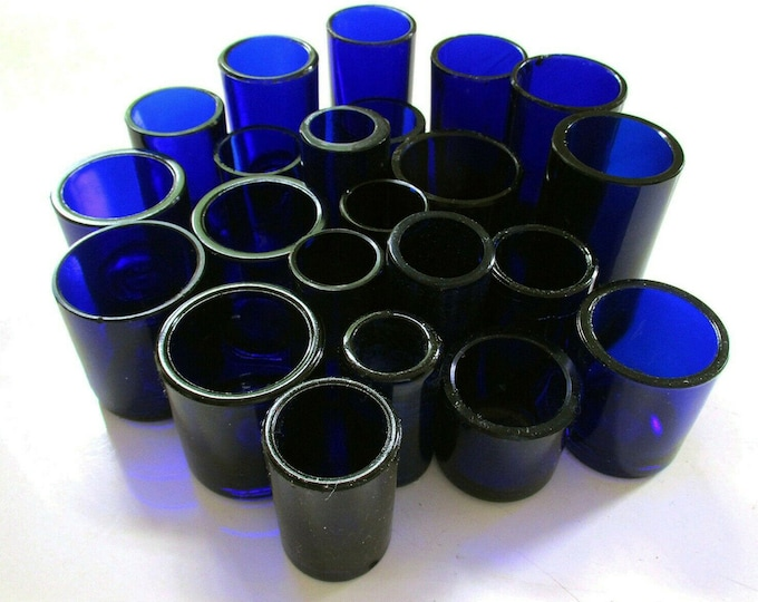 Replacement CYLINDER/CIRCULAR/ROUND Bristol Cobalt Blue Glass Liner for Silver Salt/Inkwell/Mustard Pot